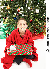Little Boy Under Christmas Tree with Gift