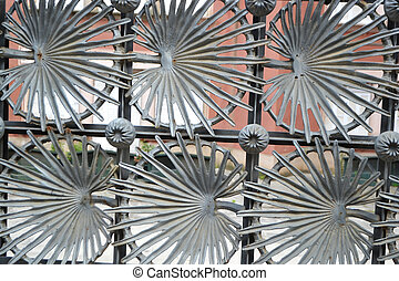 Metal fence in Park Guell - Metal fence designed by Anton...