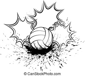 Volleyball Splatter Pow - Black and white vector...