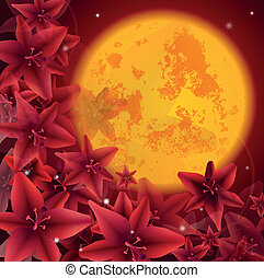 red flowers - illustration of red flowers, background,...