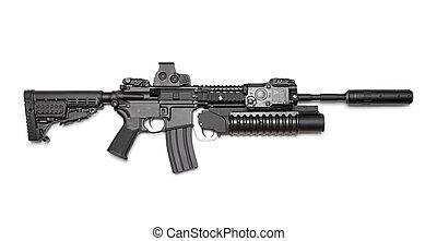 ar-15,  carbine, isolado, fundo, branca,  (m4a1)