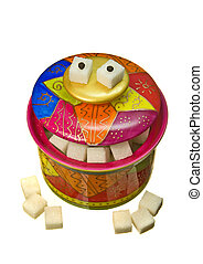 Colorful funny sugar-bowl, isolated - Colorful funny...