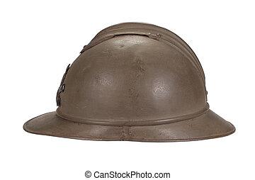 francés, casco, WW1, período