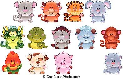 Symbols of Chinese horoscope - Symbols of Chinese horoscope...