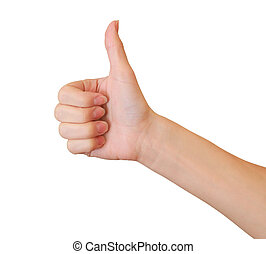 Woman hand showing thumb up sign isolated on white background