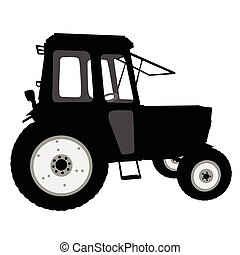 Tractor of road service - Silhouette of a tractor of road...