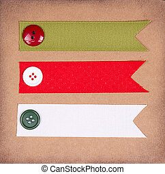 Christmas ribbon tags with buttons on scrabook paper...