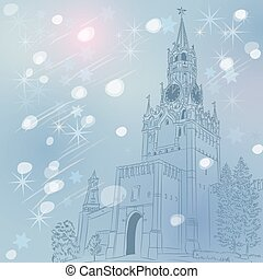 Vector winter Christmas cityscape of the Moscow Kremlin,...