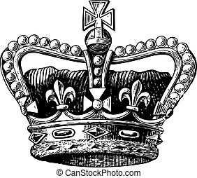 Crown Engraving - Vintage engraving of a royal crown with...
