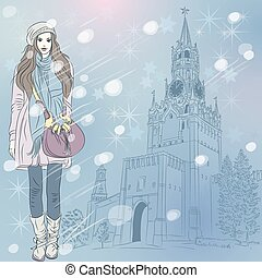 Vector Christmas winter cityscape with fashion girl in...