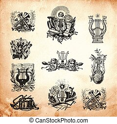 Musical Engravings - Old time engraving artwork set of...