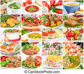 Collage of various tasty and wholesome food
