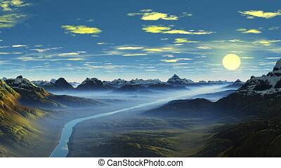 Over the mountain river - Among low mountains and hills the...