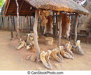 Shakaland Zulu Village,South Africa - Inside of the Great...