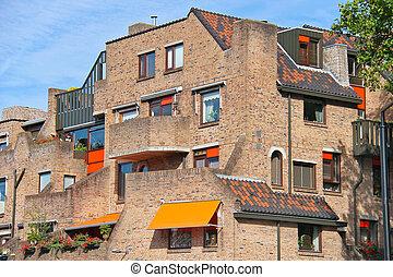 Facade of a beautiful building in the Dutch city  Dordrecht, Netherlands