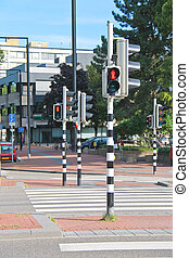 Employed traffic lights at the crossroads in Dordrecht,...