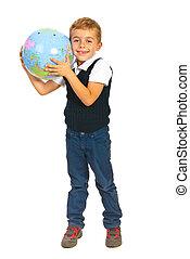 Boy listen to world globe
