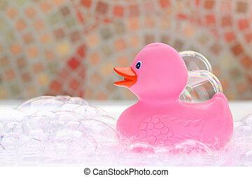 Cor-de-rosa, borracha, pato, banho, espuma