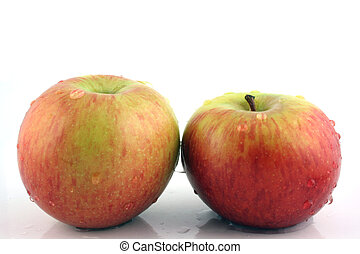 2 Apples - Close up of 2 Washed Apples