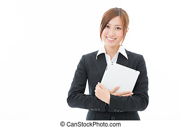 Woman with a tablet computer - Beautiful young asian woman...