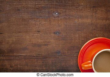 coffee on a grunge wooden table - coffee cups on a grunge...