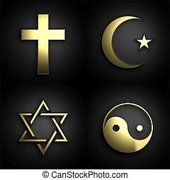 Religious symbols, 3D golden set on black background