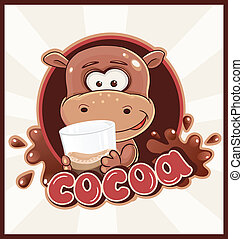 Hippopotamus with cocoa drink in glass