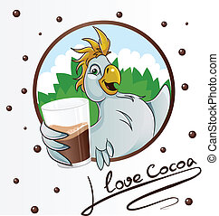 Parrot with cocoa drink in glass