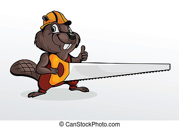 eaver holding chainsaw - Beaver wearing helmet and holding...