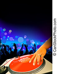 DJ And Audience - Dance Party Background, Vector...