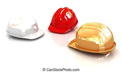 Hard hats on a white background