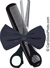 objects barber, - tie, scissors, comb