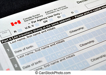 Customs declaration card - Canadian Customs declaration card