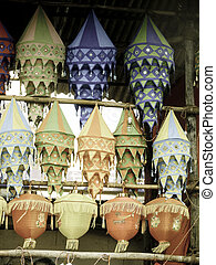 Cloth made Lanterns hanged for selling before Diwali...