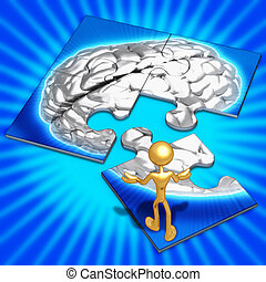 Brain Concept Puzzle - 3D Concept And Presentation Figure