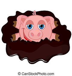 cheerful piggy in muddy puddle