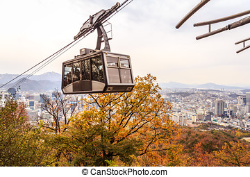 Tourist In Cable Car In Korea City