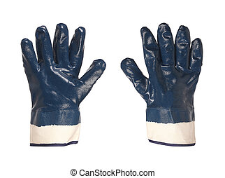 Two rubber protective blue gloves - Rubber protective blue...