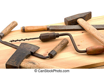 old tools - old used tools on the wooden desk