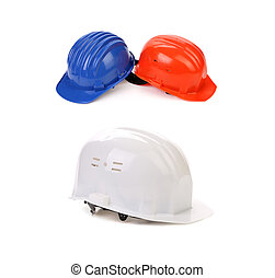Blue white red hard hats Isolated on a white background