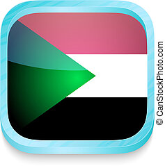 Smart phone button with Sudan flag