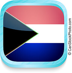 Smart phone button with South Africa flag