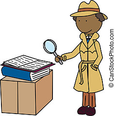 Detective - Illustration of a detective looking through a...