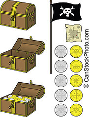Pirate treasure - Illustrations of treasure chest and gold -...