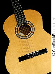 Guitar - Neck and head of an acoustic guitar, isolated black...