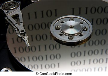 Harddisk - Closeup of the internals of a harddisk with...