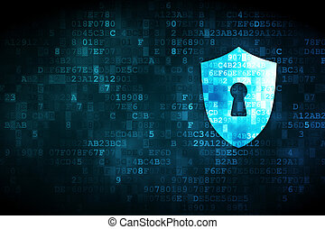 Privacy concept: Shield With Keyhole on digital background -...