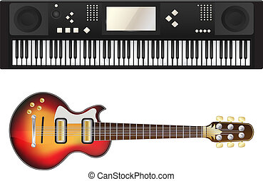 Electric guitar and synthesizer