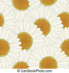 Chamomile retro seamless pattern design