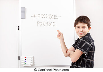 happy little boy and white board - little boy with white...